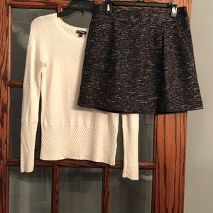Holiday Outfit, Ivory Sweater & Black Skirt